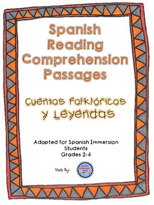 Spanish reading comprehension practice--answering questions about folktales