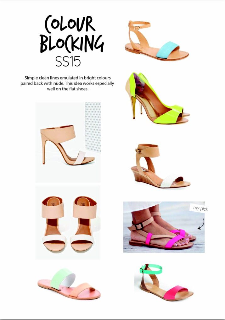 SS15 women's shoe trends. Colour blocking