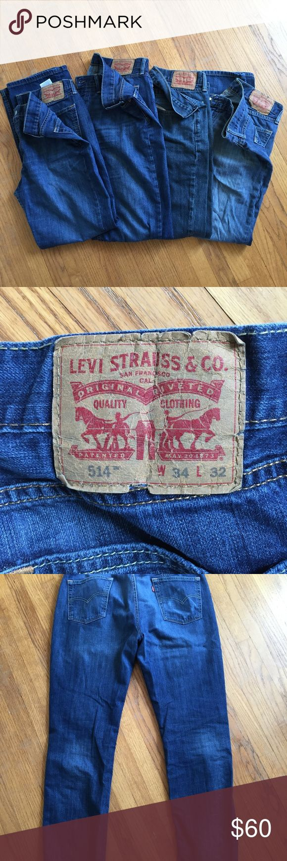 Levi's 514 straight fit  jean Lot/Bundle 34x32 4 Levi 514 straight fit Men's jeans for sale. In used condition. Willing to separate if interested.  Different washes as pictured.  2 most left jeans are same wash-medium/dark 2nd pair from right is darker wash furthest most right pair is lighter was/faded. Levi's Jeans Straight