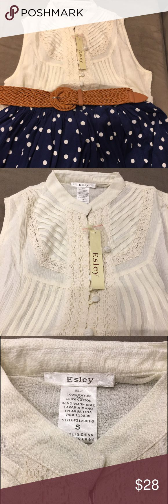 Bnwt cream short sleeve blouse with lace detail Bnwt esley short sleeve cream blouse size small 100 cotton and lace detail is 100 rayon.  Home is smoke and pet free Esley Tops Blouses