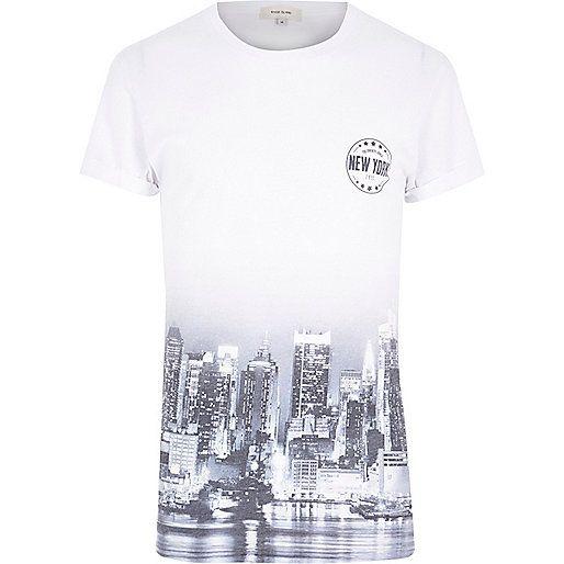 White short sleeve New York city fade t-shirt - print t-shirts - t-shirts / vests - men