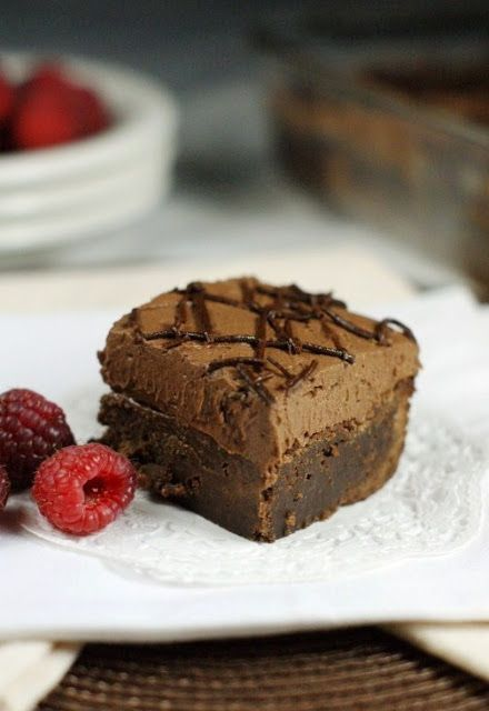Decadent Raspberry Truffle Brownies ~ rich dark chocolate brownies topped with a layer of creamy raspberry truffle filling.  Divine. www.thekitchenismyplayground.com #brownies #raspberry #truffle