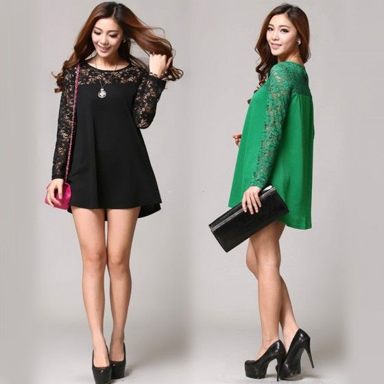 Fashion Women Loose Blouse Lace Splice Crew Neck Long Sleeve Tee Tops Shirt