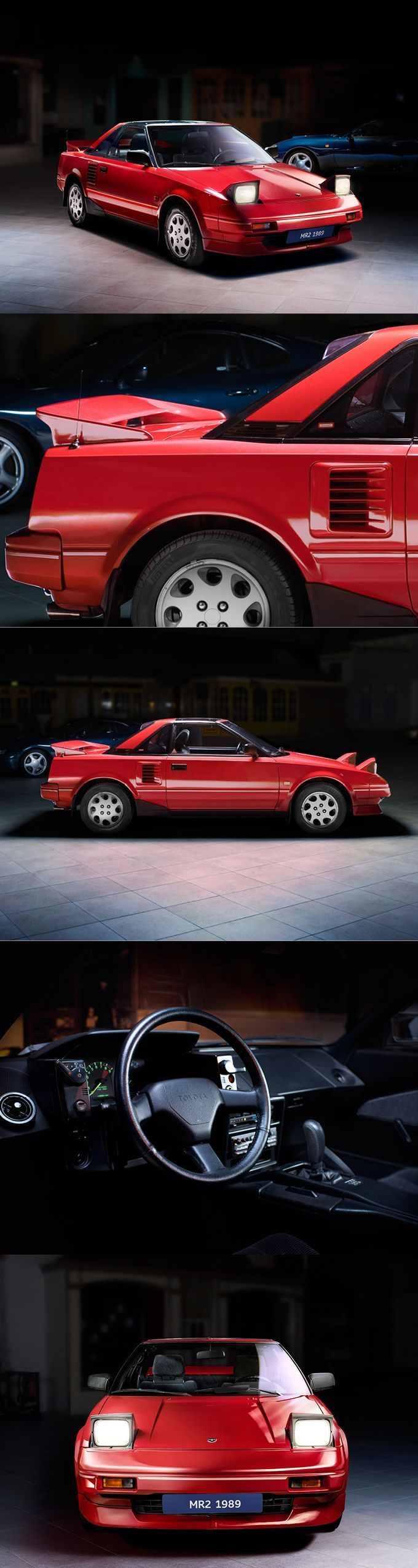 1989 Toyota MR2 / Japan / red / 17-302 #toyotavintagecars #toyotaclassiccars