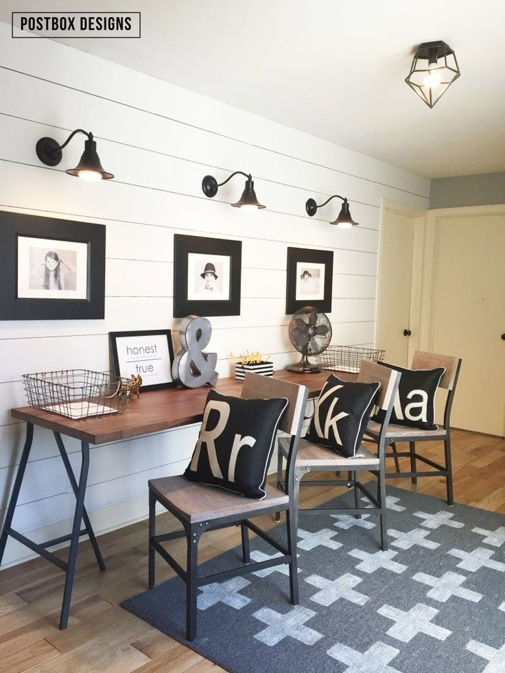 Farmouse style Kid's Homework Area by Postbox Designs, shiplap wall, Ikea desk, monogram pillows, DIY swiss cross rug,