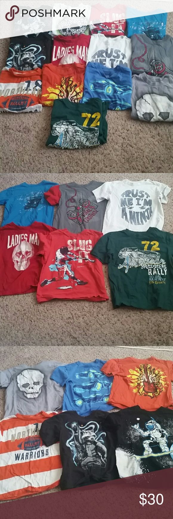 Little boys Childrens Place T shirt bundle 13 Small 5/6 Childrens place t shirts. All in excellent condition, no rips or stains except white with skulls with neon green, has small stains on bottom right of shirt as shown in picture. All other shirts are stain free, of you'd like additional pics, please ask. Perfect for spring and summer! Reasonable offers accepted, smoke free, pet friendly home. Children's Place Shirts & Tops Tees - Short Sleeve
