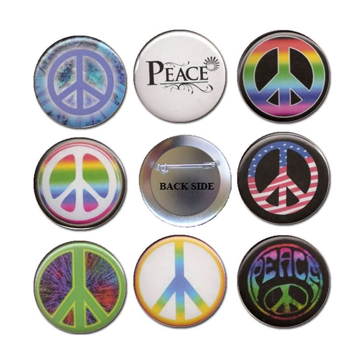 Shop for Peace and Love Hippie Symbols Pinback Button Badge 1.25 8 Pcs at Balli Gifts USA. Free Shipping on orders $49.99+ USA