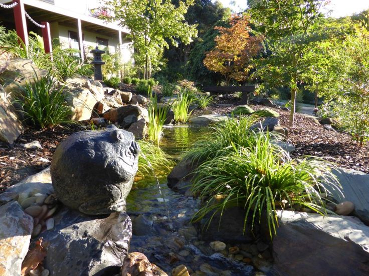 Beautiful winding stream in a Japanese style garden.