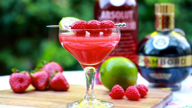 """BERRY MARTINI: Berries are in season at the moment, and what better reason do you need to whip up a beautiful """"Berry-tini"""" cocktail? mixed with Rasberry Vodka, Chambord, Strawberry Puree and Lime juice. Recipe on the blog."""