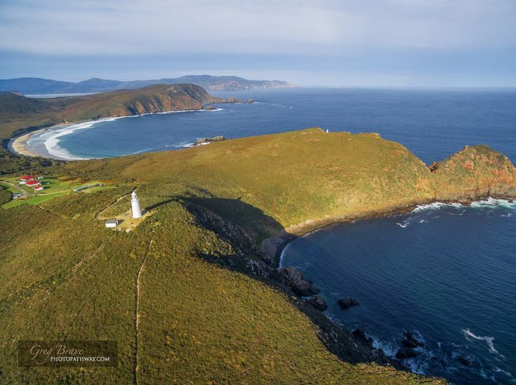 Aerial view of South Bruny National Park and Lighthouse. Bruny Island, Tasmania, Australia