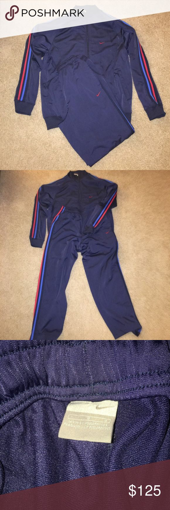 Men's Nike Sweatsuit Brand new without tag. Never worn. Midnight blue with royal blue and red striping on the sleeve and on the sides of the pants. Get this sweatsuit at a wonderful price. Comfortable for wearing to the gym or just lounging around at home. Nike Other
