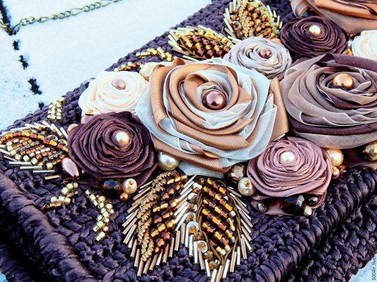 Купить Клатч Симфония роз из атласных лент на заказ. - коричневый, цветочный, клатч, сумочка вязаная