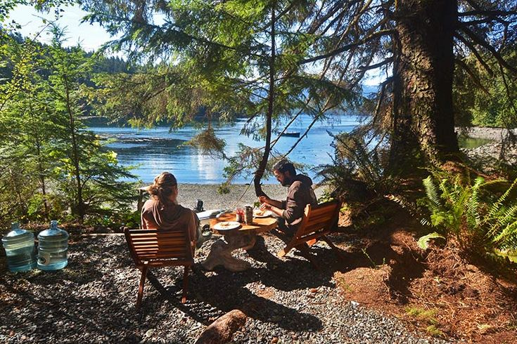 Tranquil base camp breakfast: Orca Dreams offers kayaking, whale watching and luxury camping on Compton Island, Blackney Pass, British Columbia