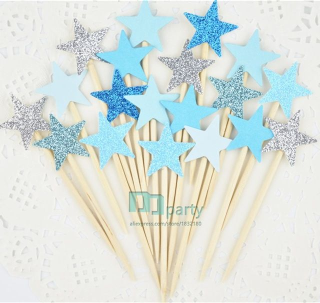 40pcs bule Glitter Star Cupcake Toppers bule Party Supplies Twinkle Little Star Party 1st Birthday Wedding New Years Eve Party