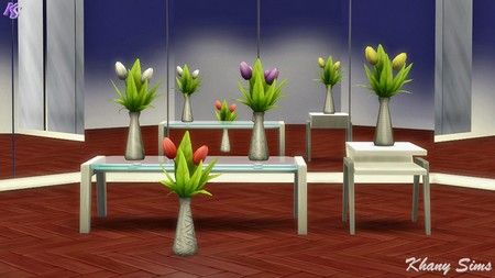 Vases and tulips recolors at Khany Sims via Sims 4 Updates