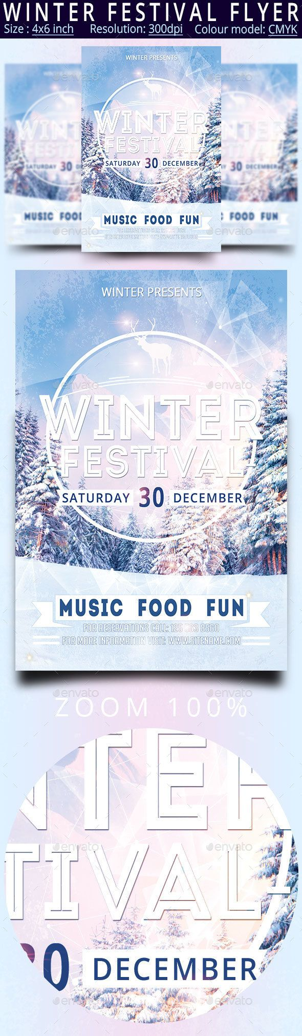 Winter Festival Flyer Template PSD #design Download: http://graphicriver.net/item/winter-festival-flyer/13645668?ref=ksioks