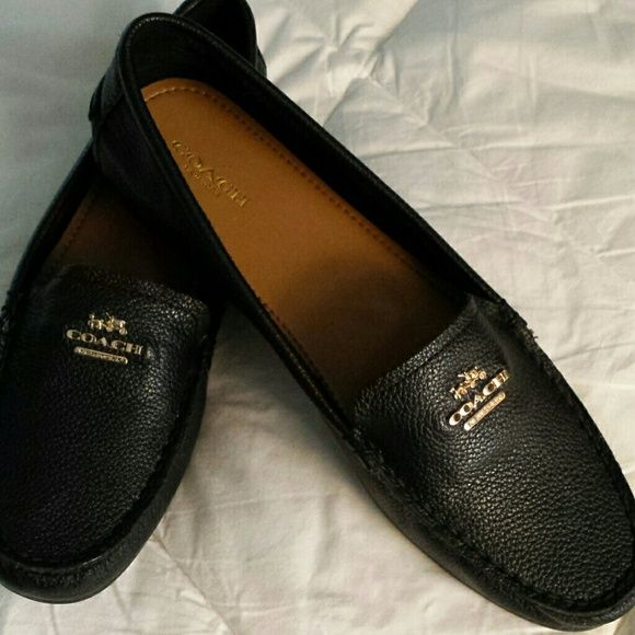 Coach loafers -New Black pebble grain loafers with gold Coach insignia. Very soft, never worn because too big for me. NWOT or box. Price firm. Coach Shoes Flats & Loafers