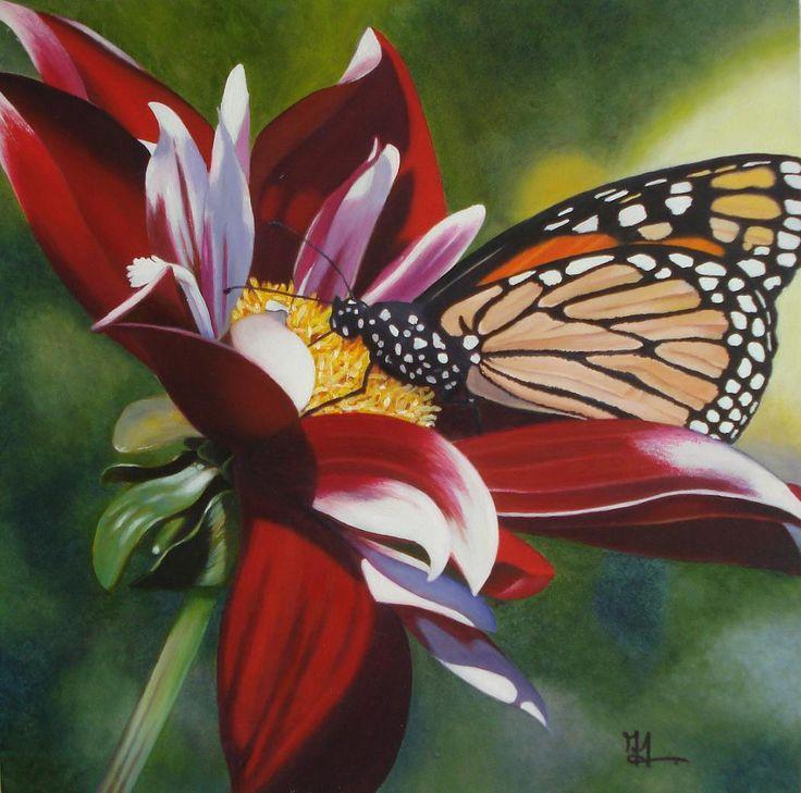 Monique Eysink- Wiersma - Monarchvlinder op rode dahlia