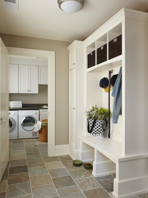 Slate tile flooring in laundry room with cute pet station and mudroom || Express Flooring | Phoenix, Arizona