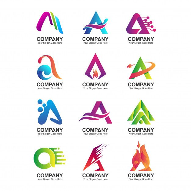 Abstract Letter A Logo Template Company Identity Icons Set