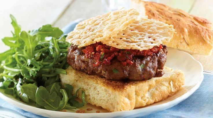 Dress up a burger and make an impression with Tre Stelle Grana Padano Cheese Crisp Burger.