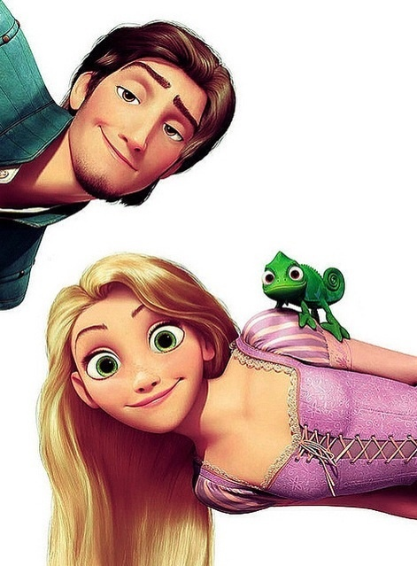 tangled; Flynn and Rapunzel<<<< AND PASCAL NEVER FORGET PASCAL!!!!!!!!!