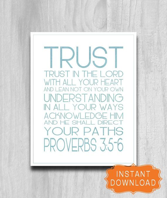 Trust in the Lord Proverbs 3 5-6 Printable INSTANT DOWNLOAD Scripture Word Art Poster 8x10 Aqua green Blue Bible Verse jpg file
