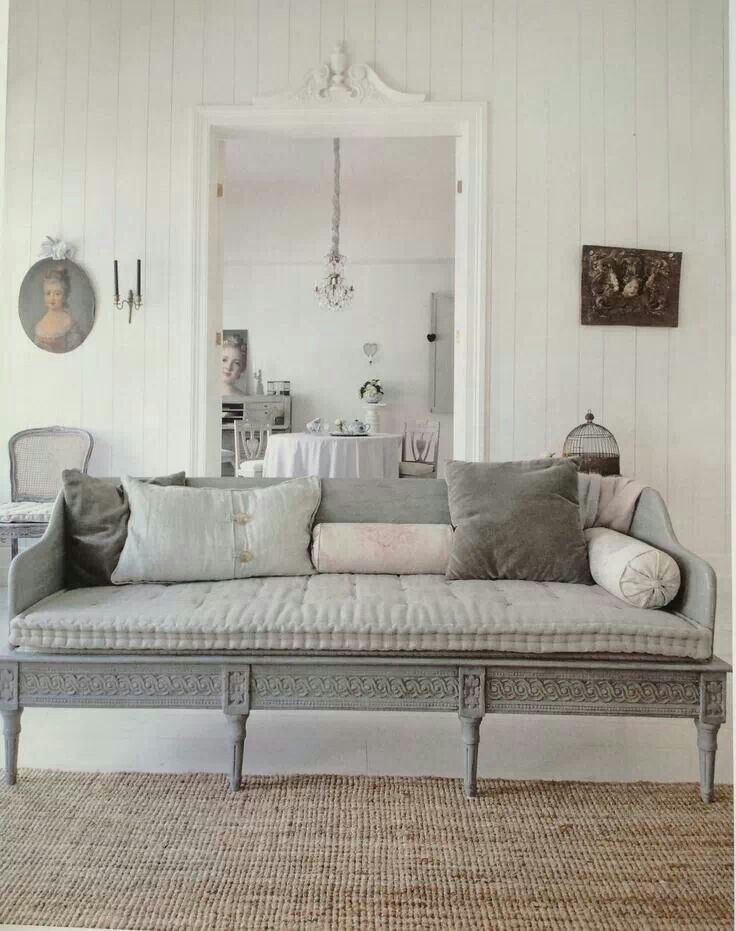 This Gustavian 17th century room gives you a clear indication of Gustavian interiors. The dusty blues, whites and greys gives it a very soft inviting space. A strong design element used is the wooden walls painted white gives the room a bigger look.