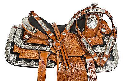 "16"" SILVER INLAY CUSTOM LEATHER WESTERN PLEASURE SHOW HORSE SADDLE TACK SET"