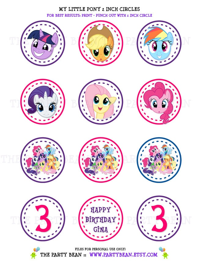 My Little Pony Birthday Party Cupcake Toppers- Stickers - Favor Tags: 2 Inch Circles - Digital PDF FILE. $6.00, via Etsy.