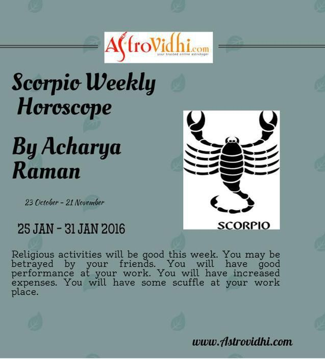 Check your Scorpio weekly Horoscope ( from 25 Jan to 31 Jan 2016 ) and plan your full week accordingly.