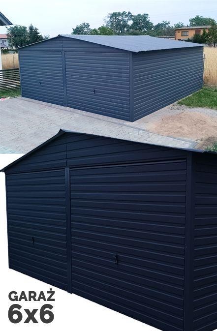 Garaz 6x6 Hala Wiata Blaszana Z Dachem Dwuspadowym Rumah