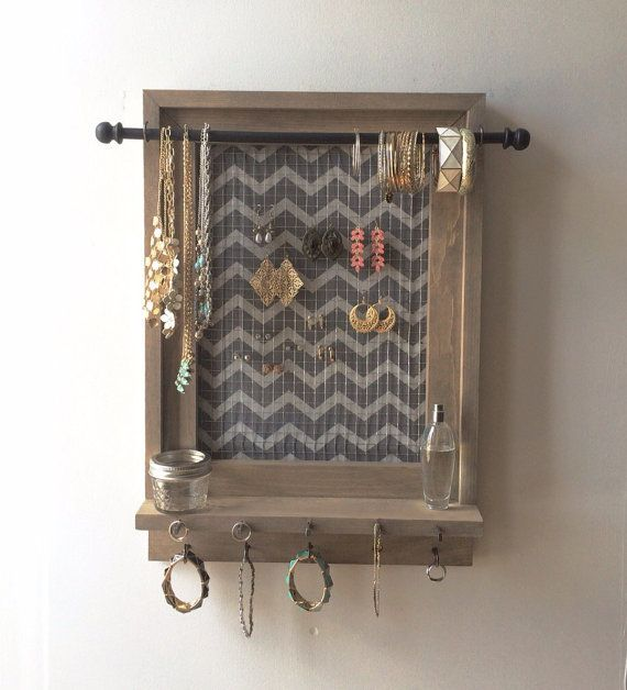 Jewelry Organizer - Hanging Jewelry Organizer - Jewelry Holder - Gray and White Chevron