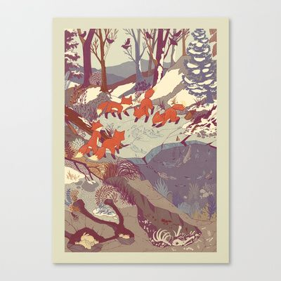 Fisher Fox Stretched Canvas by Teagan White - $85.00