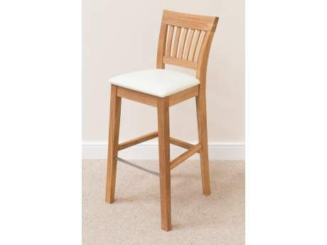 Java Solid Oak Bar Stool Cream Leather