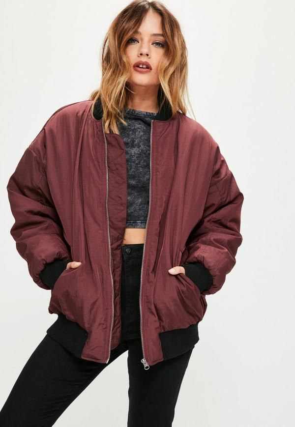 Carry the trend of the season with a little help from this burgundy bomber jacket. With oversized fit, pockets and zip fastening - all eyes will be on you.