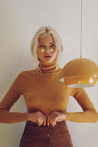 Delilah Turtleneck Sweater in Mustard
