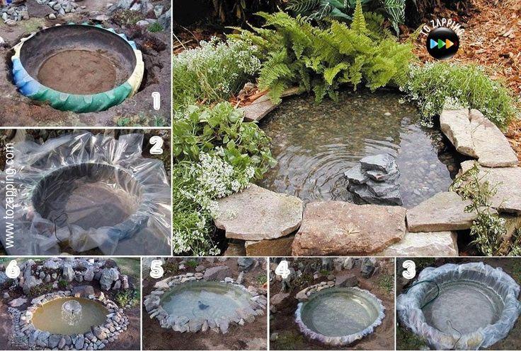 Cómo hacer paso a paso un estanque para el jardín. Hoy os proponemos añadir un estanque a tu jardín, reciclando un neumático de tractor o de camión, es una