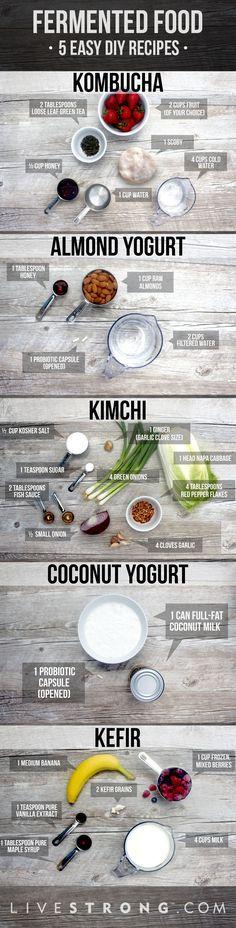 5 super easy fermented food DIY recipes!  #kombucha  Also check out: http://kombuchaguru.com