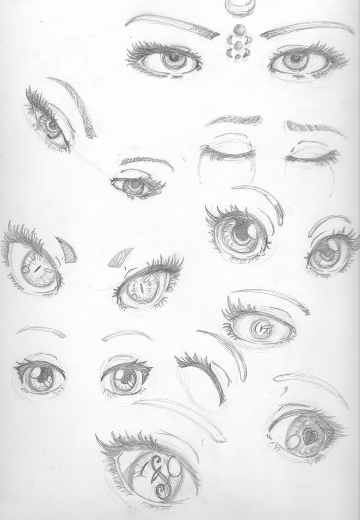 I drew some eyes for practice. So here you go. You can use these as reference or inspiration or something. I like a semi-realistic/anime fusion. I can add girlish details while still keeping it simple.