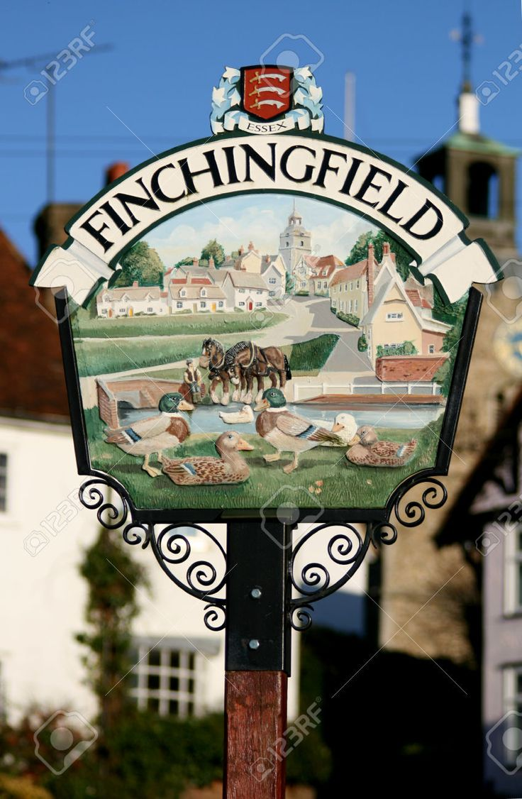 Finchingfield Village sign, Essex, England