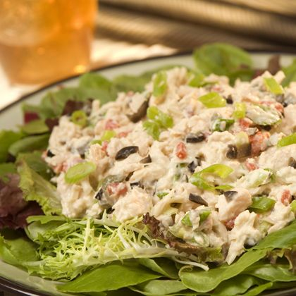 Mediterranean Tuna  Tuna, Mayonnaise Dressing with Olive Oil, chopped pitted ripe olives, chopped roasted red peppers, green onions, capers!