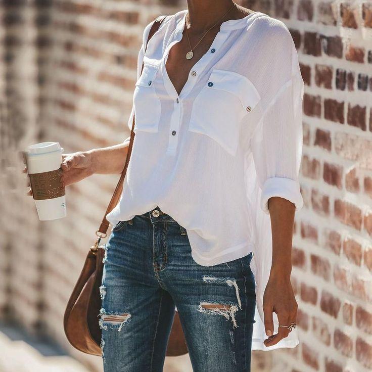 Reine Farbe Lose Langarm Blusen #bluse #kleid #mode #streetstyle #mode … – blusas