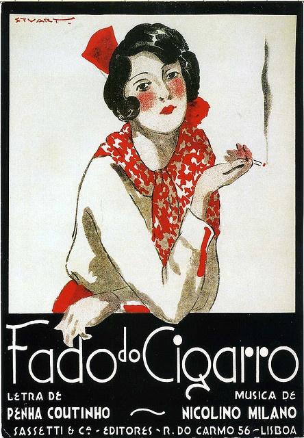 "GREAT vintage poster card! ""Fado do Cigarro"" by portuguese illustrator Stuart Carvalhais (1887-1961)."