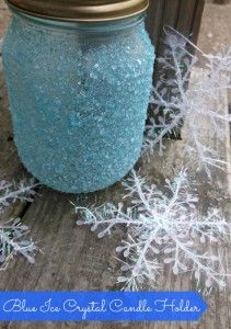 Blue Ice Crystal Candle Holder for Hanukkah and Winter DIY Craft