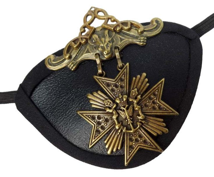 Eye Patch Gold Medallion Gothic Steampunk by JenkittysCloset