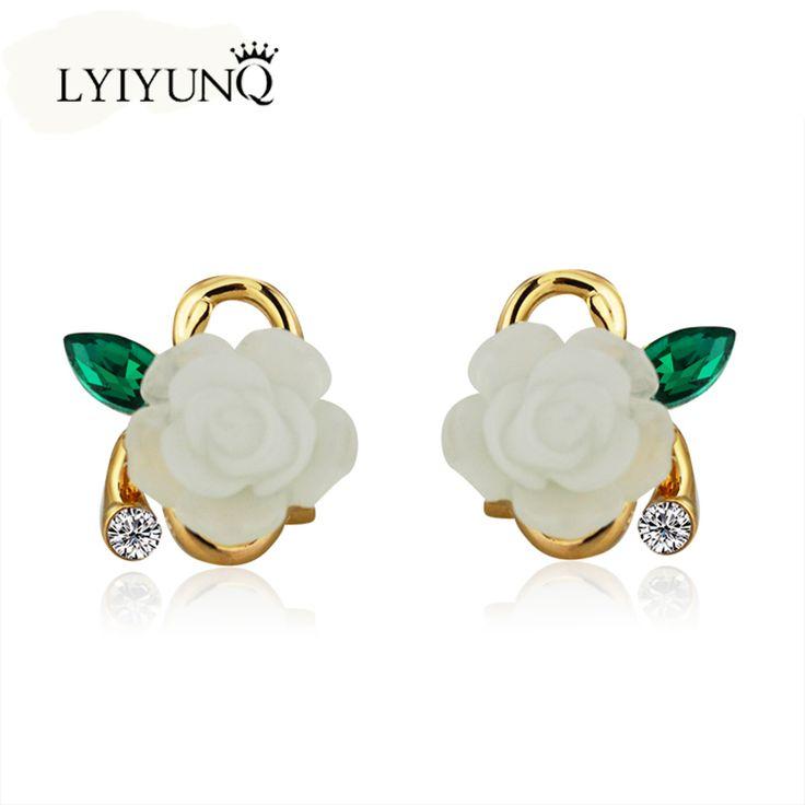 Free Shipping New Brincos Grandes Classic Rhinestone Ceramic Flower Ear Cuff Syerigi Stud Earrings For Women Pendientes brinco