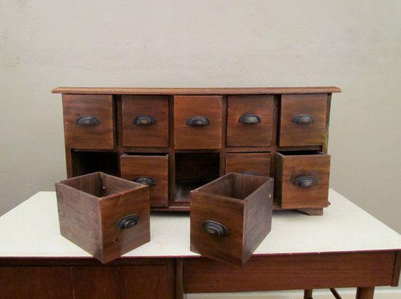 Solid Oak 10 drawer Cabinet etsy 42.5 W 17 H 14.5 D 275.