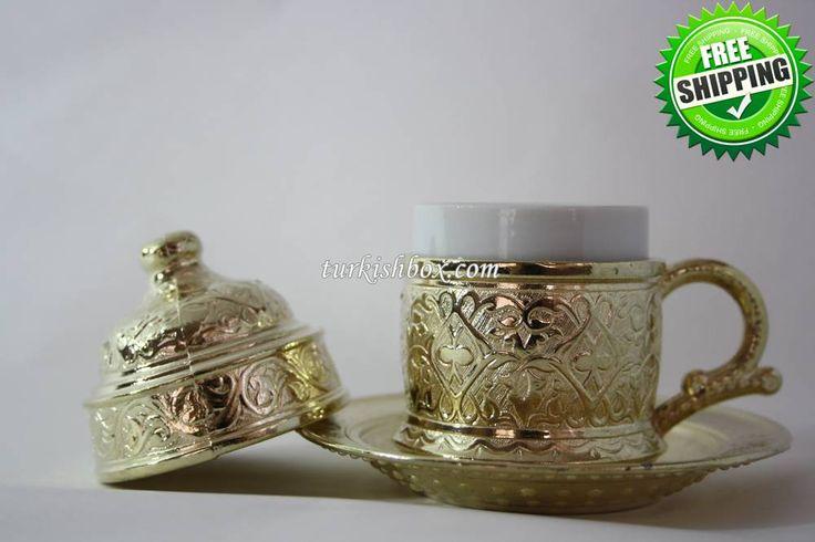 Turkish Coffee Cup   Ottoman - Gold - http://turkishbox.com/product/turkish-coffee-cup-ottoman-gold/  #turkishtowels #peshtemals #turkishproducts