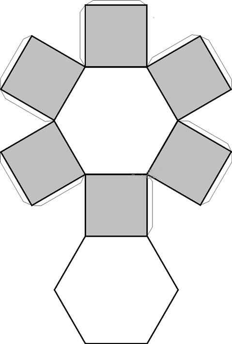 Recortables de figuras geométricas| Prisma hexagonal